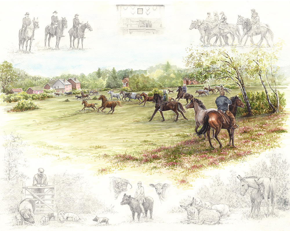 A Celebration of Commoning  was painted to Commemorate 100 years of the New Forest Commoners Defence Association.